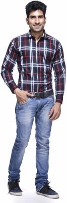 Jads Men's Checkered Casual Blue, Black, Red, White Shirt