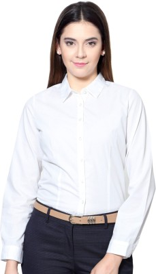 People Women's Solid Formal White Shirt
