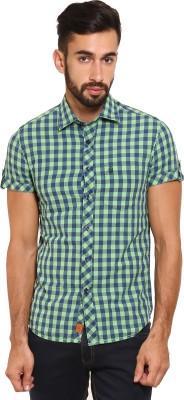 Classic Polo Men's Checkered Casual Light Green, Blue Shirt