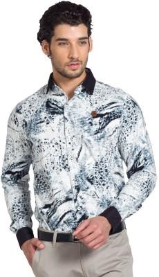 YOO Men's Printed Casual Black Shirt