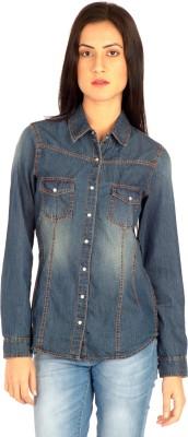 MIST ISLAND Women's Solid Casual Denim Dark Blue Shirt