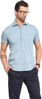 Leo Sansini Men's Solid Casual Blue Shirt