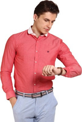 Oxford Club Men's Solid Casual Red Shirt