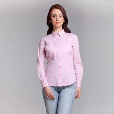 Colormode Women's Solid Formal Pink Shirt