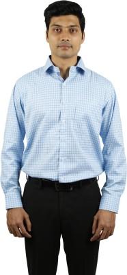 Right Trak Men's Checkered Formal Blue Shirt