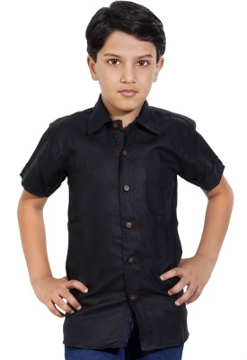 MagPie Boy's Self Design Party Black Shirt