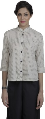 Pour Femme Women's Printed Casual, Formal White Shirt