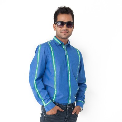 Passion Men's Striped Casual Blue Shirt