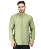Prakum Men's Striped Casual Green Shirt