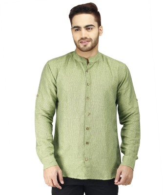 Prakum Men's Striped Casual Green Shirt