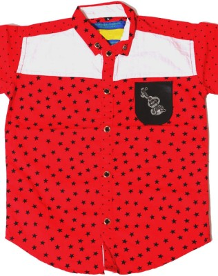 Kidicious Boy's Printed Casual Red, Black, White Shirt