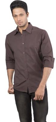 Barrier Reef Men's Solid Casual Brown Shirt