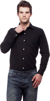 Fedrigo Men's Solid Casual Black Shirt
