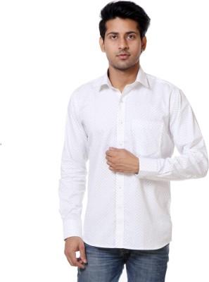 Call In France Men's Polka Print Casual White, Black Shirt