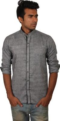 Brumax Men's Solid Casual Linen Grey, Black Shirt