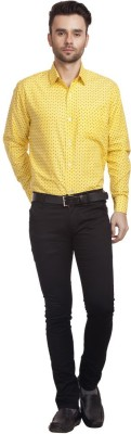 Zuricch Men's Floral Print Casual Yellow Shirt