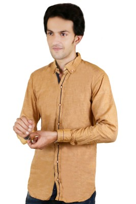 Zrestha Men's Solid Casual Yellow Shirt