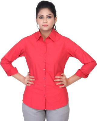 Estella Fashion Women's Solid Formal Red Shirt