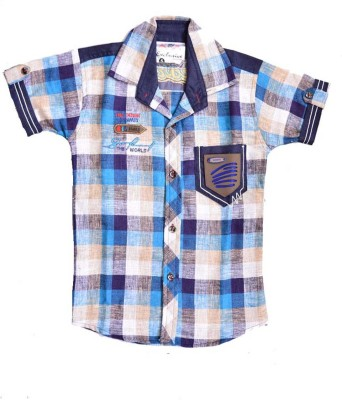 British Terminal Boy's Checkered Casual Blue Shirt