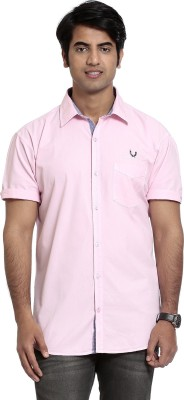 High Hill Men's Solid Casual Pink Shirt