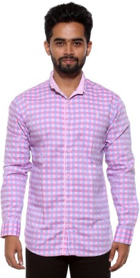 FIFTY TWO Men's Checkered Casual Pink Shirt