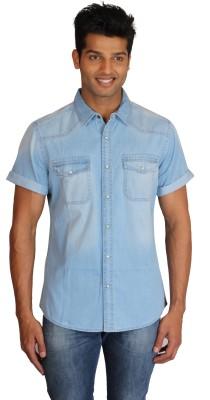 Right Shape Men's Solid Casual Denim Light Blue Shirt