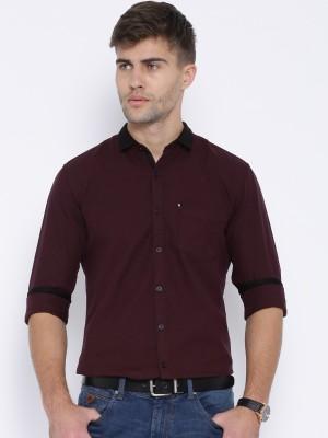 Harvard Men,s Self Design Casual Pink Shirt