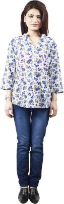 Neets Fashion Women's Floral Print Casual White, Blue Shirt