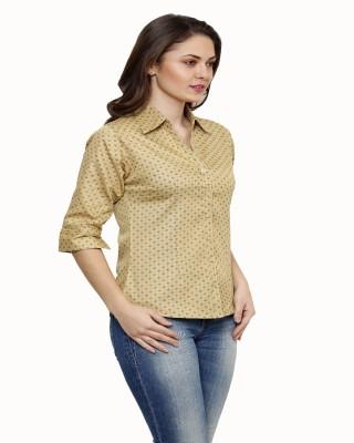 Ritzzy Women,s Printed Casual Beige Shirt