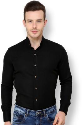 Blackbuk India Men's Solid Casual Black Shirt
