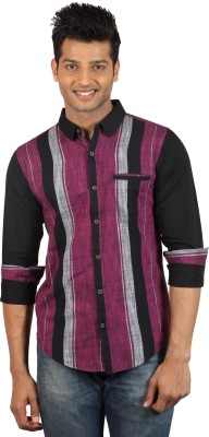 Le Tailor Men's Striped Casual Black, Maroon Shirt