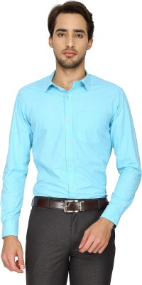 Cotton Power Men's Solid Formal Blue Shirt