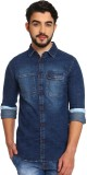 Silly People Men's Solid Casual Blue Shi...
