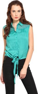 Blue Sequin Women's Solid Casual Green Shirt