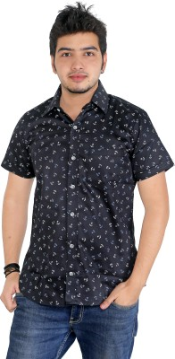 Yellow Dots Men's Printed Casual Black Shirt