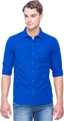 Shield & Sword Men's Solid Casual Linen Blue Shirt