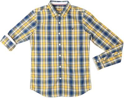 Allen Solly Boy's Checkered Casual Yellow Shirt