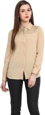 Stykin Women's Embellished Casual Beige Shirt