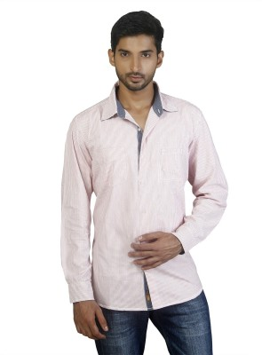 Repique Men's Striped Casual Pink Shirt