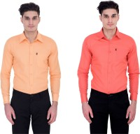 London Looks Formal Shirts (Men's) - London Looks Men's Solid Formal Multicolor Shirt(Pack of 2)