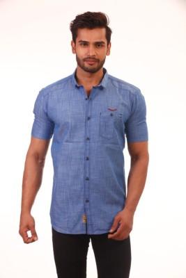 Baaamboos Men's Solid Casual Blue Shirt
