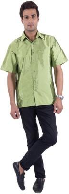 Warrior Men's Solid Casual Light Green Shirt