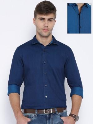 Harvard Men,s Solid Casual Reversible Blue Shirt
