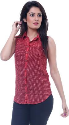Lynda Women's Polka Print Casual Maroon Shirt