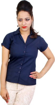 fashion and me Women's Solid Formal, Casual Blue Shirt