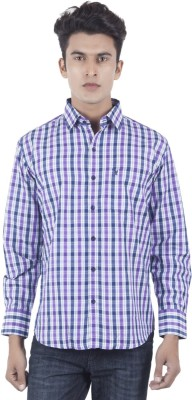 Eden Elliot Men's Checkered Formal Purple, Blue Shirt