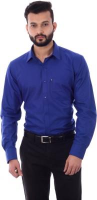 Cotton Treat Men's Solid Casual Blue Shirt