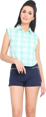 Phenomena Women's Checkered Casual Light Green, White Shirt
