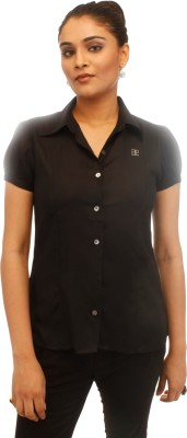 Adam n Eve Women's Solid Formal Black Shirt