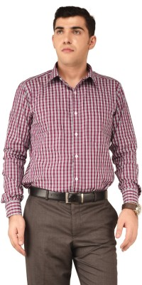 Hyphen Men's Checkered Formal Red Shirt